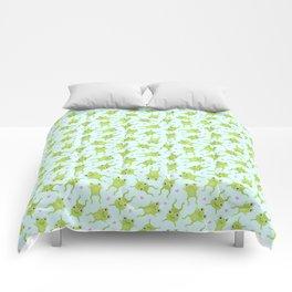 Kawaii Happy Frogs on Blue Comforters