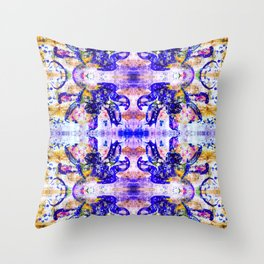 Shattered Blues Throw Pillow
