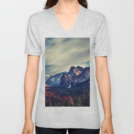 Yosemite Valley and Waterfall in Autumn Unisex V-Neck
