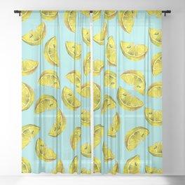 Lemon Slices Pattern Turquoise Sheer Curtain
