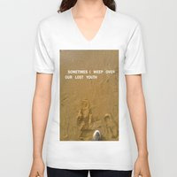 sand V-neck T-shirts featuring sand by gasponce