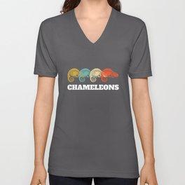 Chameleon Chamaeleon Vintage Snail Design Unisex V-Neck