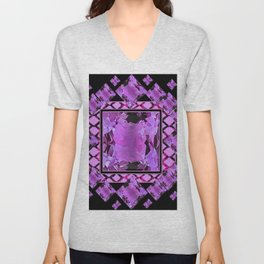 BLACK ART DECO  AMETHYST GEMS   DECORATIVE ART Unisex V-Neck