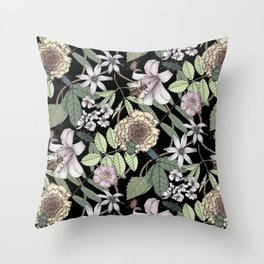 lush floral pattern with bee and beetles II Throw Pillow