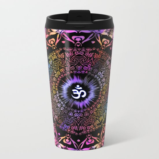 Dark Radiant Om Mandala Metal Travel Mug