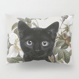 Cat With Flowers Pillow Sham