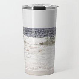 Neutral Ocean Landscape Photography, Grey Seascape Art, Gray Sea Beach Photo, Coastal Print Travel Mug