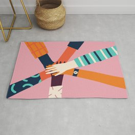 Holding hands circle Rug