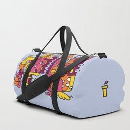 Light Blue Doodle Monster World Duffle Bag