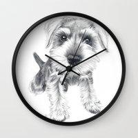 schnauzer Wall Clocks featuring Schnozz the Schnauzer by Beth Thompson