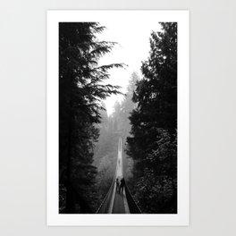 misty capilano suspension bridge Art Print