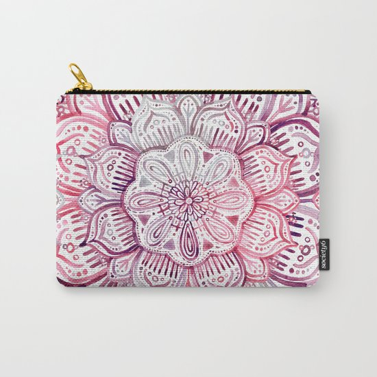 Burgundy Blush Watercolor Mandala Carry-All Pouch