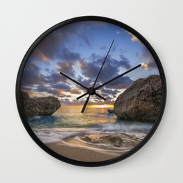 Kalamitsi beach at sunset long exposure Wall Clock