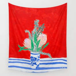 Protea Still Life in Red and Delft Blue Wall Tapestry