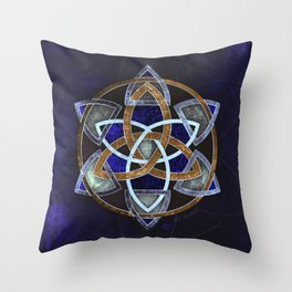 Golden Triskelion Mandala Throw Pillow