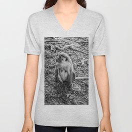 Toque Macaque Monkey Unisex V-Neck