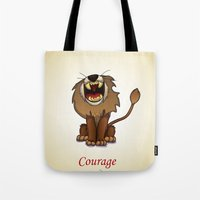 oz Tote Bags featuring oz-courage by Jovan Dortch