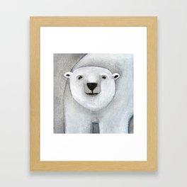 Grey Day Polar Bear Framed Art Print
