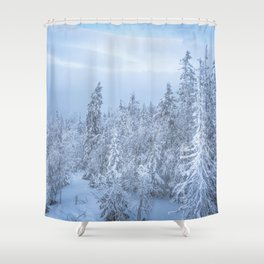 Winter forest in the Mountains Shower Curtain