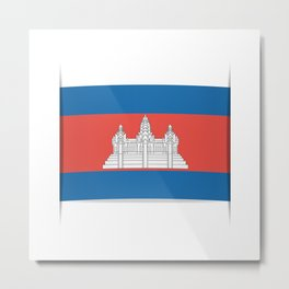 Flag of Cambodia.  The slit in the paper with shadows.  Metal Print