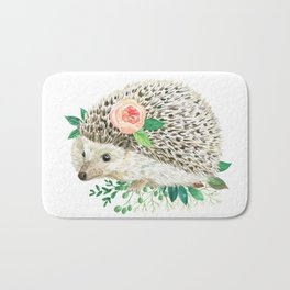 hedgehog with rose Bath Mat