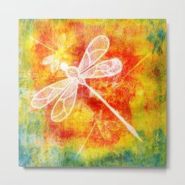 Dragonfly in embroidered beauty Metal Print