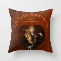 fili Throw Pillows featuring Fili Love Supporter by wolfanita