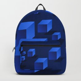 Blue Geometric Boxes Design Backpack