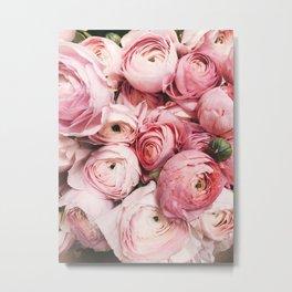 Flowers, Pastel, Plant, Pink, Minimal, Flowers decor, Interior, Wall art Art Metal Print