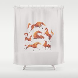 Horse poses Shower Curtain