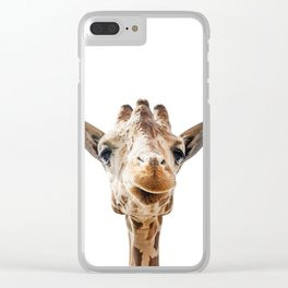 Funny Giraffe Portrait Art Print, Cute Animals, Safari Animal Nursery, Kids Room Poster, Wall Art Clear iPhone Case