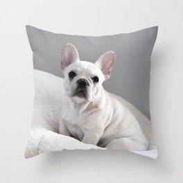 Cream Frenchie Throw Pillow