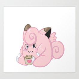 Clefairy sits coffee variant! Art Print