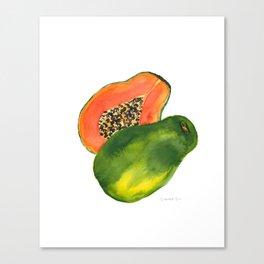 Watercolor Papaya Canvas Print