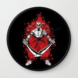 Burning Samurai Wall Clock