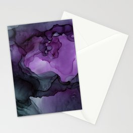 Abstract Ink Painting Deep Purple Green Stationery Cards
