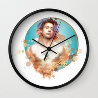 robert downey jr Wall Clocks featuring Robert Downey Jr. by Rene Alberto