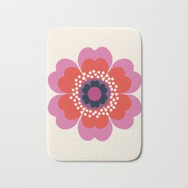 Lightweight - 70s retro throwback floral flower art print minimalist trendy 1970s style Bath Mat