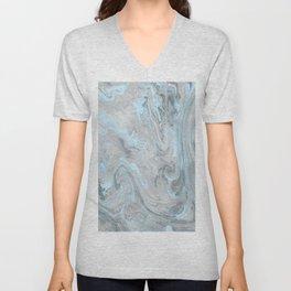 Ice Blue and Gray Marble Unisex V-Neck