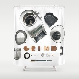 Grind // Exploded View Espresso Coffee Grinder Wood Block Typography Lettering Photograph Shower Curtain
