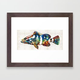 Colorful Grouper 2 Art Fish by Sharon Cummings Framed Art Print