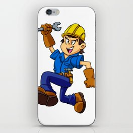 Running man with a wrench iPhone Skin