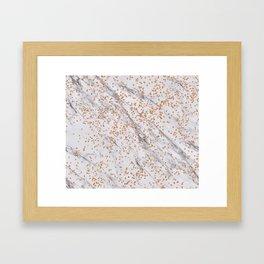 Rose gold diamond confetti on marble Framed Art Print