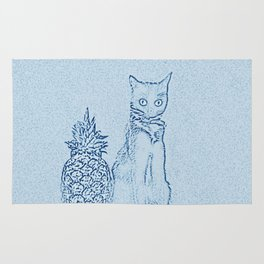 The Cat and the Pineapple - in Blue Rug