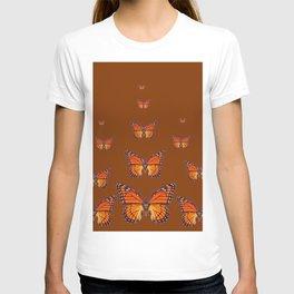 ORANGE MONARCH BUTTERFLIES COFFEE BROWN T-shirt