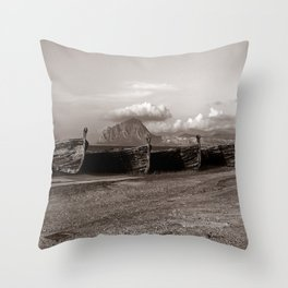 Old Port of Trapani Throw Pillow
