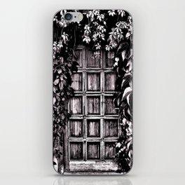 Black White Old Door iPhone Skin