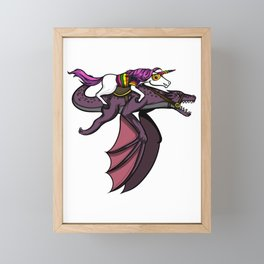 Magical Unicorn Riding Dragon Framed Mini Art Print