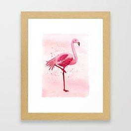 Pink Watercolor Flamingo Framed Art Print