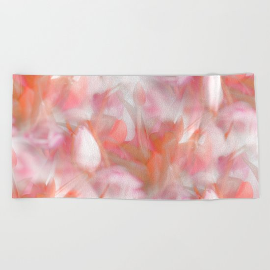 Pink Tulips Abstract Nature Spring Atmosphere Beach Towel